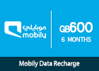 Mobily Data recharge 600 GB-6 months